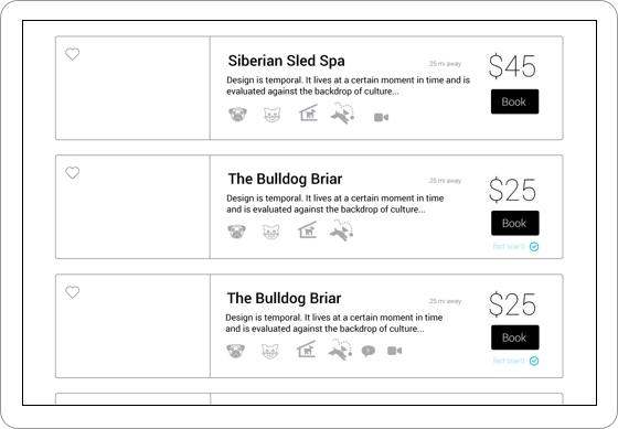Wireframe of listings