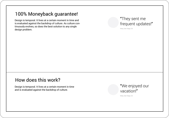Wireframe of testimonials
