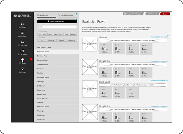 Wireframe of workouts screen and listings