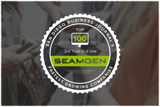 Seamgen ranked for the 3rd year on the Top-100 Fastest Growing Private Companies!