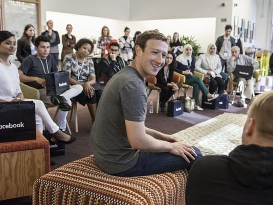 Mark Zuckerberg, Facebook CEO, meet with several users at the company's headquarters in Menlo Park, CA last Tuesday. (Image Credit: USA Today)
