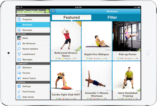skimble workout trainer app menu on a tablet