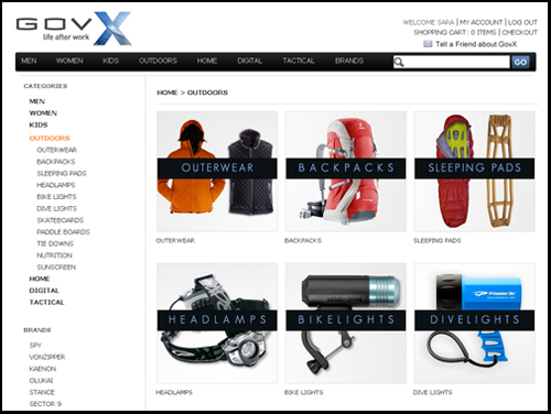 GovX website's product screen