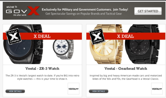 Image of a GovX promotion and special deal on two watches