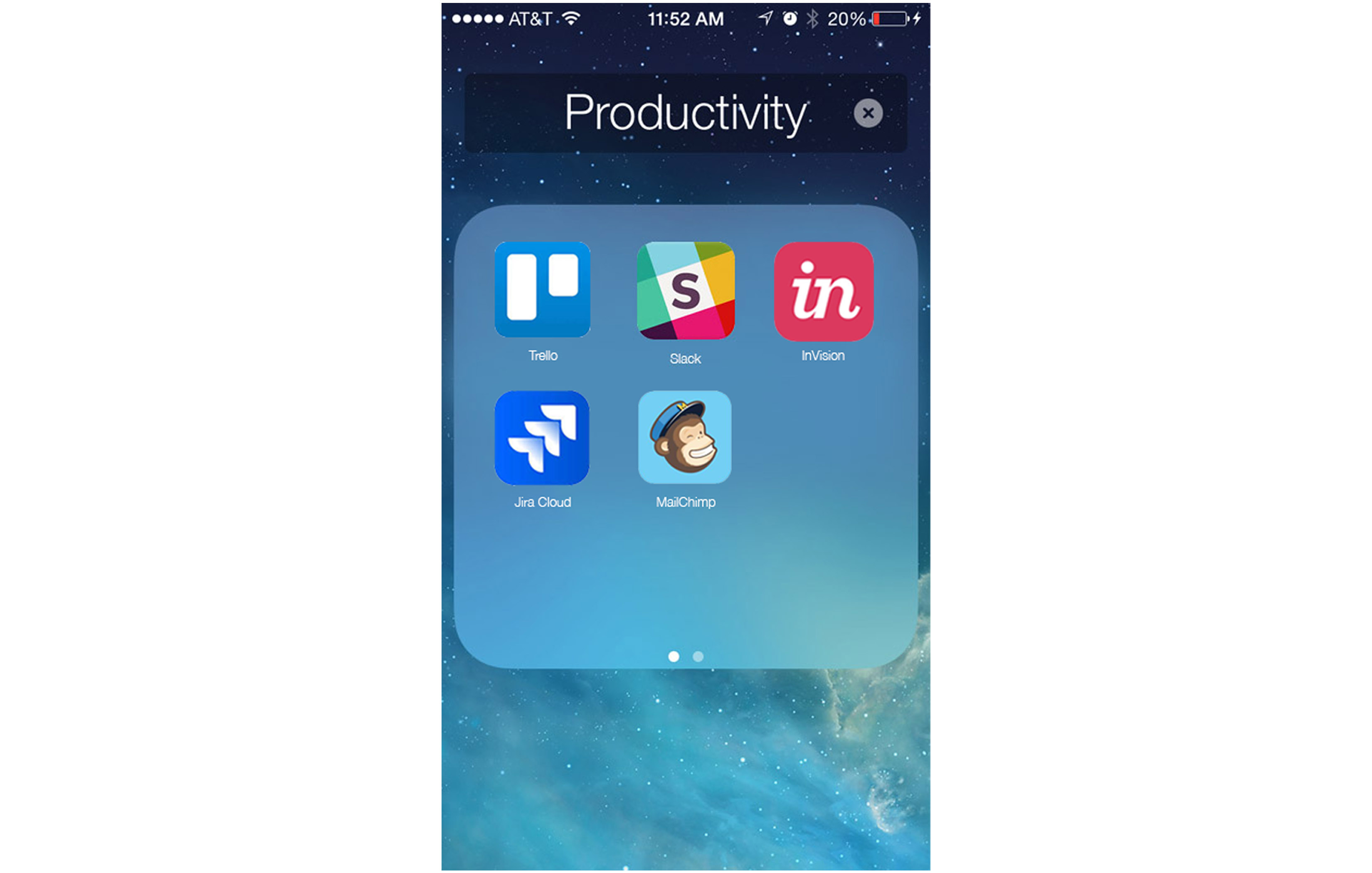 phone screen of collaboration apps